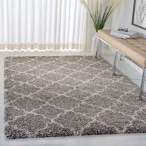 Safavieh Hudson Shag Collection SGH282B Grey and Ivory Moroccan Geometric Quatrefoil Area Rug (8' x 10')
