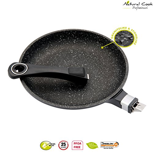 11' Non Stick Skillet (Natural Cook Professionnel - Fry Pan In Nonstick Stonelike Granitelike & Ceramic Coating Frying Pan Cookware With Detachable Handles - Suitable For All Cookers, Even Induction Cookers - 11