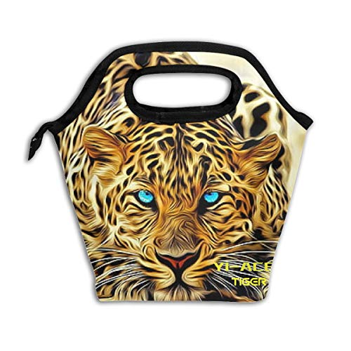 YI-ACEE Leopard Face Waterproof Lunch Handbag with Zipper Aluminium Foil Lunch Bag Outdoor Travel Picnic Carry Case Lunchbox for Womens Mens Boys Girls