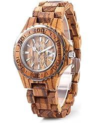 Bewell Womens ZS-100BL Handmade Wooden Analog Quartz Zebra Wood Retro Wrist Watch