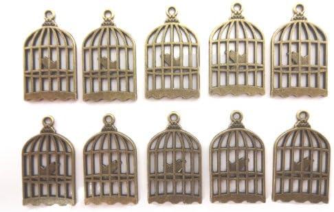 【HARU雑貨】金古美 チャーム 10個セット/鳥かご 鳥篭 鳥籠 カゴ/アクセサリートップ ハンドメイド