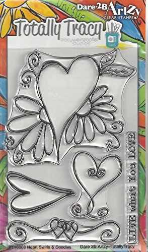 Dare 2B Artzy Heart Swirls & Doodles Clear Cling Rubber Stamps - Swirl Heart Rubber Stamp