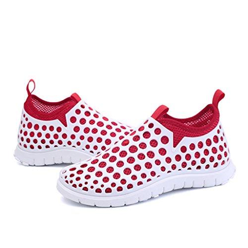 Oriskey Women's Quick Drying Aqua Water Shoes Mesh Slip On Sneakers White Red 4LtnzT