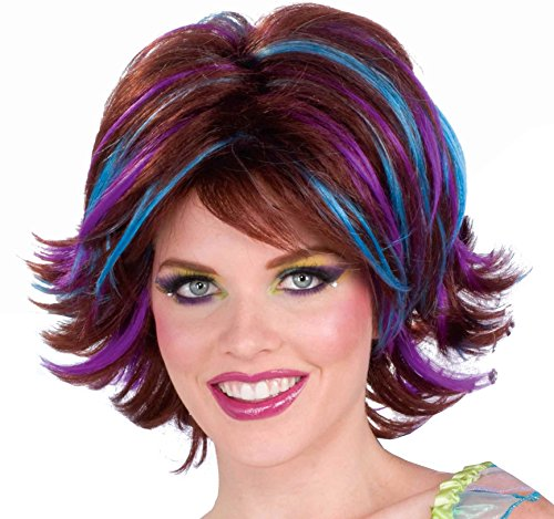 Forum Novelties Women's Fantasy Fairy Streaked Costume Wig, Multi Colored, One (Brunette Halloween Costumes)