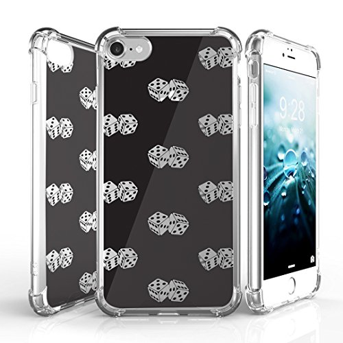 (iPhone 7 Case, DuroCase AquaFlex 4 Corner Shockproof TPU Bumper w/ Hard Plastic Back Shield 2in1 Hybrid Case (Clear) For Apple iPhone 7 - (Lucky Dice Black))