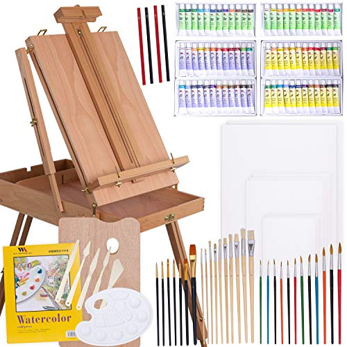 WA Portman Professional Painting and Art Supplies - 121 pc Artist Paint Tools Set - Field Easel with Storage - Canvases and Pad - Acrylic Oil Watercolor Paint Sets - Brush Sets Painting Kit and More
