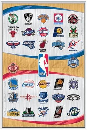 Nba Team Logos Framed Poster Quality Silver Metal Frame 22 X 34 Artwork Posters Prints
