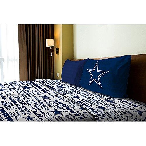 Northwest NOR-1NFL820010009WMT Dallas Cowboys NFL Twin Sheet Set - Anthem - Bed Cowboy Sheets