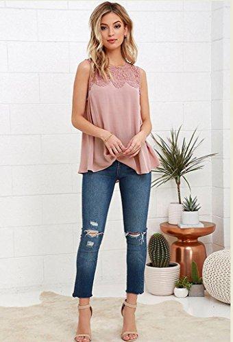 RETUROM Las mujeres nuevo estilo atractivo del verano camisa de encaje sin mangas de la blusa de la gasa de las camisetas sin mangas ocasional Rosa