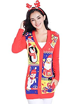 v28 Christmas Sweater Cardigan Ugly Women Plus Size Vintage Penguin Snowman Knit