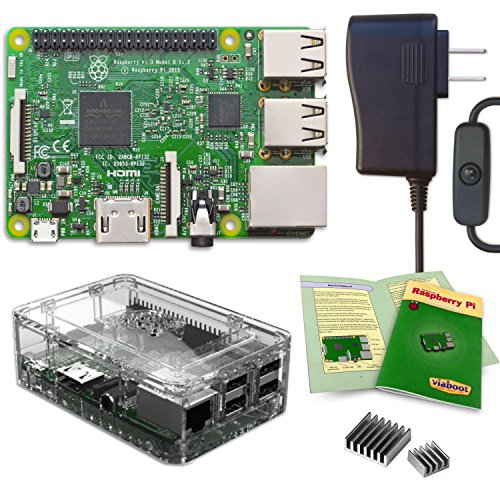 Viaboot Raspberry Pi 3 Power Kit — UL Listed 2.5A Power Supply, Premium Clear Case Edition by Viaboot
