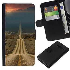 All Phone Most Case / Oferta Especial Cáscara Funda de cuero Monedero Cubierta de proteccion Caso / Wallet Case for Samsung Galaxy Core Prime // Open Road Freedom Asphalt Drive