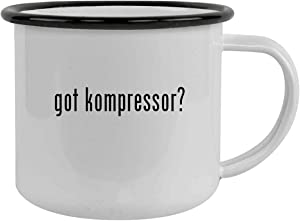 got kompressor? - Sturdy 12oz Stainless Steel Camping Mug, Black