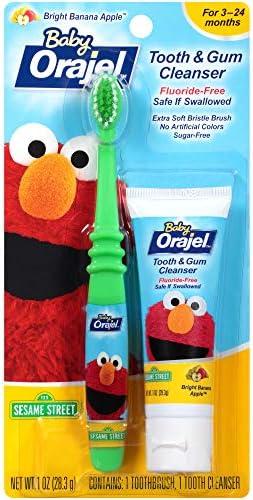 Orajel Elmo Fluoride-Free Tooth & Gum Cleanser 1.0 oz. with Toothbrush, Banana Apple, 1 oz.