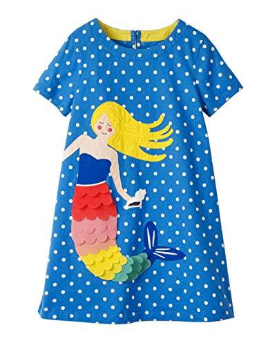 Little Girls Dress Casual Cotton Kids Unicorn Appliques Striped Jersey Dress (4T, 2GDS398) -