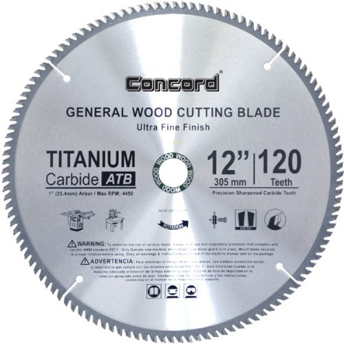 Concord Blades WCB1200T120HP 12-Inch 120 Teeth TCT General Purpose Hard & Soft Wood Saw Blade