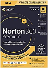 Symantec Corporation 21389990 Norton 360 Premium For Up To 10 Devices Provides Powerful Layers Of Protection