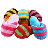 Pecute Squeaker Toy Pet Dog Play Sound Plush Slippers Shape Chew Toy Random Color