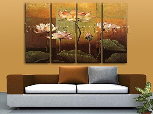 XXL Large Retro Painting HD Giclee Prints On Canvas Lotus Water Lily Flowers, Oversized Floral Wall Art, Living Room, Tussock