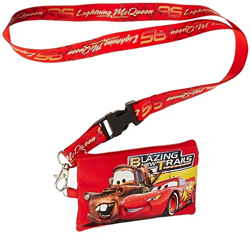 Disney Pixar Cars Lightning McQueen Lanyard with Detachable Coin Pouch - Red (Pouch Detachable Coin)