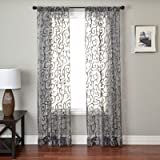Softline Home Fashions AMALgry84RP Abel Rod Pocket Single Curtain Panel, Grey