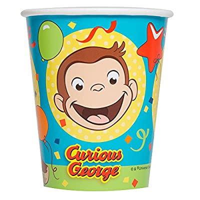 Unique Curious George Paper Party Cups, 8 Ct.: Toys & Games