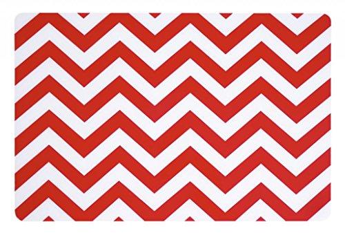 Print Placemat Set (Placemats Washable Table Decor Vinyl Placemats Set of 4 Red Chevron)