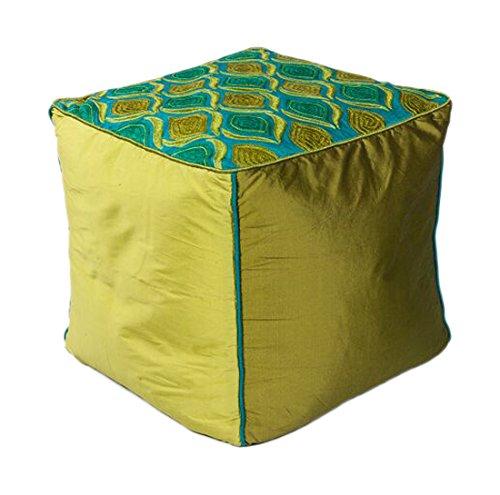 KAS Oriental Rugs Tribeca Pouf, 18'' x 18'' x 18'', Teal Green by KAS Oriental Rugs