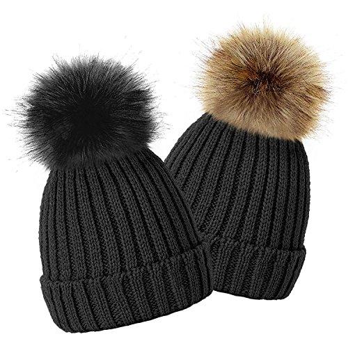 36ff9bf5d55 TOSKATOK Kids Girls Winter Beanie Bobble Hat with Detachable ...
