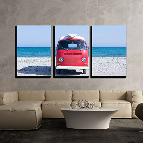 wall26 - 3 Piece Canvas Wall Art - Front View of a Red and White Classic Van with a Surfboard on The Top on The Beach - Modern Home Decor Stretched and Framed Ready to Hang - 24