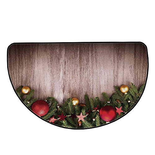 Christmas Comfortable Semicircle Mat,Xmas Ornaments Over Wooden Rustic Board Backdrop with Stars Goodwill Print for Living Room,25.9