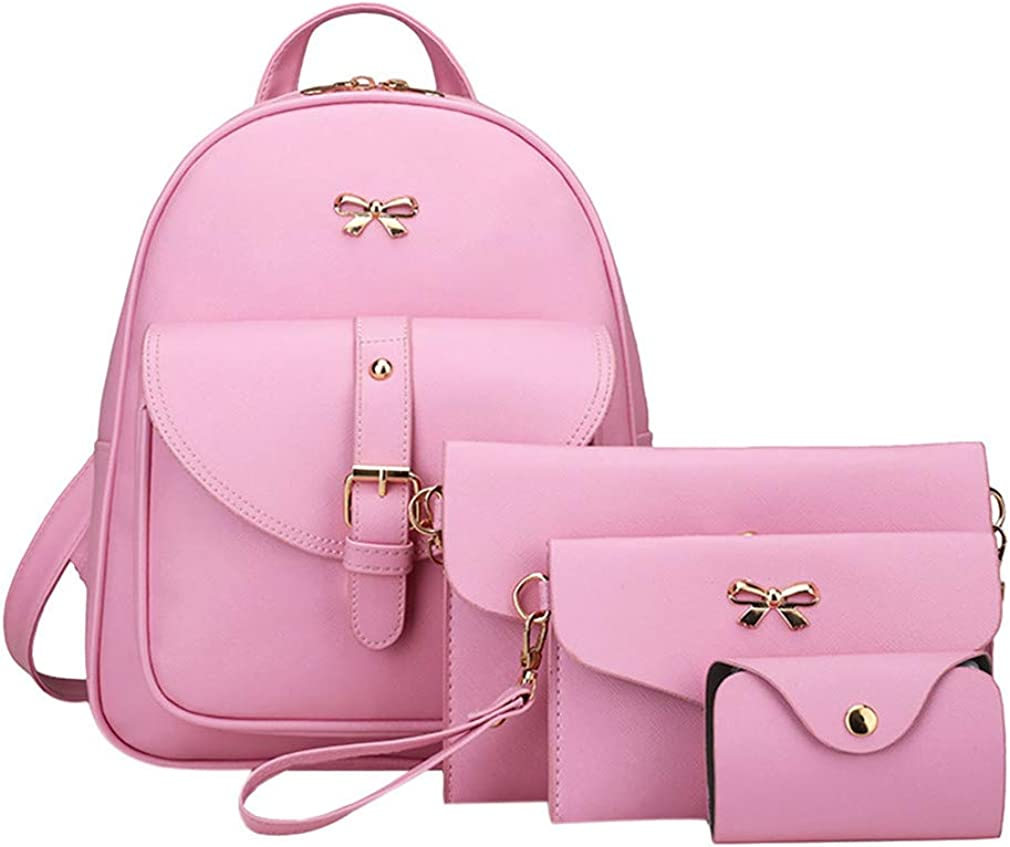 4Pcs Pu Bowknot Women Shoulder Backpacks Clutch Bag Female Travel Leather Backpack