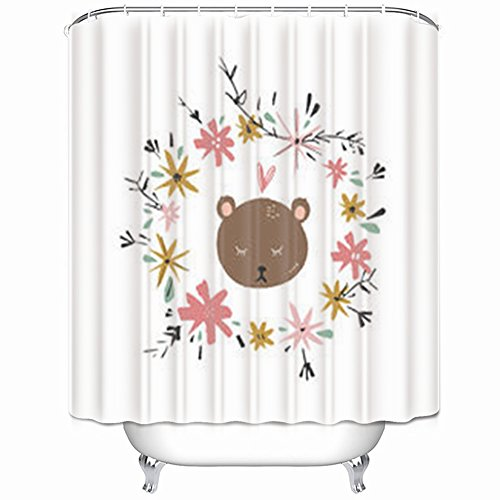 Frame Dub Child Dub (Alfredon Shower Curtains Girl Bear Blossom Frame Wreath Decor Animals Wildlife Nursery Boho Floral Waterproof Mildew Resistant 66 x 72 Inches Polyester Fabric Bath Bathroom Curtain)