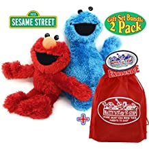 """Playskool Sesame Street Plush Pals (8.5"""") Elmo & Cookie Monster Gift Set Bundle with Exclusive """"Matty's Toy Stop"""" Storage Bag - 2 Pack"""