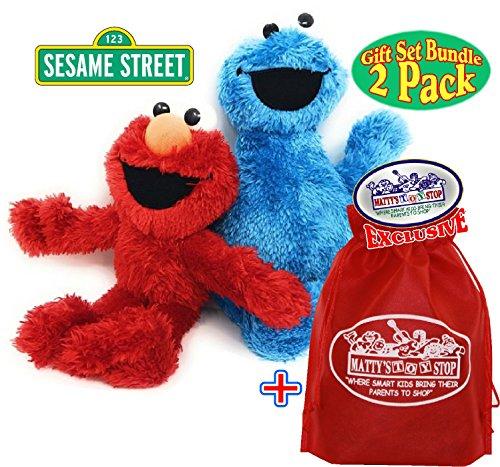 Sesame Street Playskool Plush Pals (8.5) Elmo & Cookie Monster Gift Set Bundle with Exclusive Mattys Toy Stop Storage Bag - 2 Pack