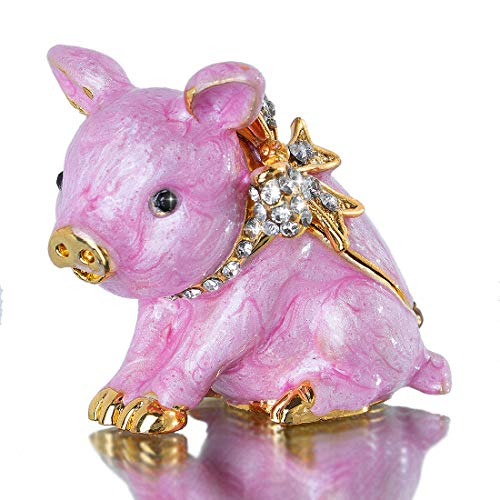 YU FENG Pink Piggy Animal Jewelry Trinket Box Hinged Pig Collectible Figurines for Home Decor