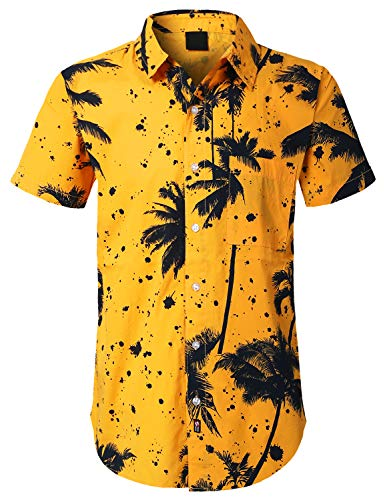 - URBANCREWS Mens Hipster Hip Hop Palm Trees Button Down Shirt Yellow, S