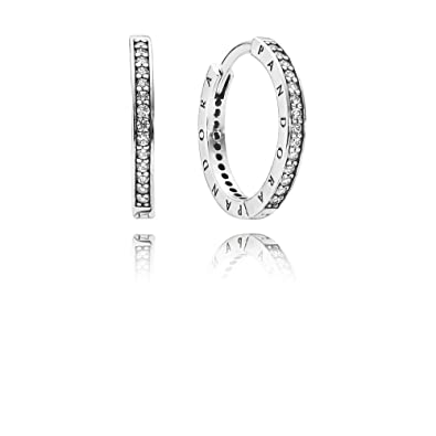 41e67076c Image Unavailable. Image not available for. Color: Pandora Signature Hoop Silver  Earrings 290558CZ