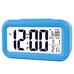 Lomanda Digital Alarm Clock for Kids,Desk Clock Battery Operated with Time Date Large LCD Display Smart Backlight Temperature Snooze Function Decorative for Bedroom