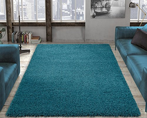 Ottomanson Soft Cozy Color Solid Shag Area Rug Contemporary Living and Bedroom Soft Shag Area Rug, Turquoise Blue, 5'3