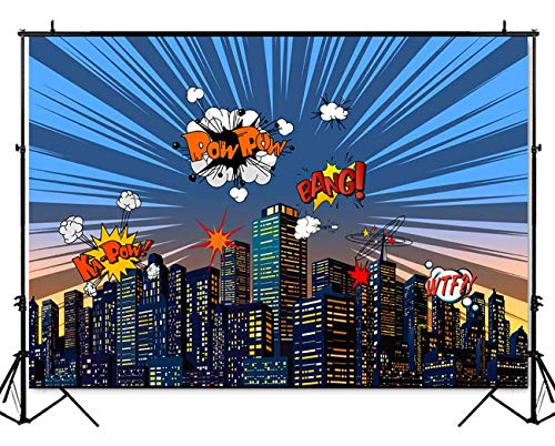 Mehofoto Superhero Baby Shower Backdrop Super Hero City Themed Photography Background 7x5ft Vinyl Child Kids Birthday Party Decoration Banner for $<!--$17.89-->