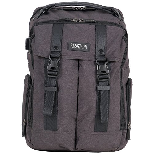"Kenneth Cole Reaction 600d Polyester Dual Compartment 15.6"" Laptop Travel Backpack, Charcoal"