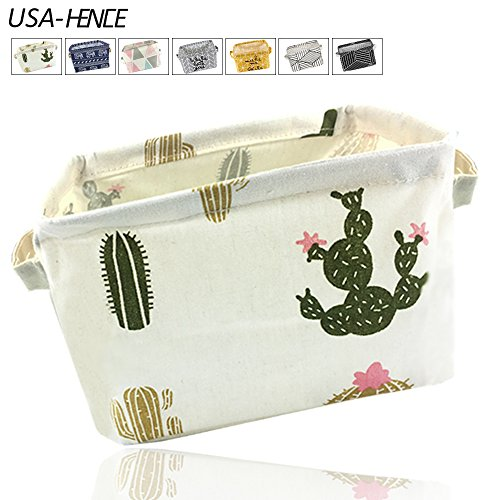 Small Foldable Storage Basket Canvas Fabric Waterproof Organizer Collapsible and Convenient for Nursery Babies Room 100% Cotton with Handle USA-HENCE (Cactus)