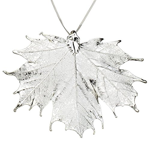 Silver-Plated Sugar Maple Leaf Pendant Sterling Silver Curb Chain Necklace, 22