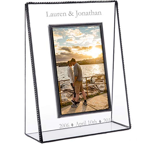 J Devlin Pic 319-57V EP549 Personalized Anniversary Picture Frame Engraved Glass Photo Frame First 5th, 15th, 10th, 25th, 30th, 35th, 40th, 45th, 50th Keepsake Gift 5 x 7 Vertical Photo