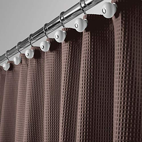 (mDesign Hotel Quality Polyester/Cotton Blend Fabric Shower Curtain with Waffle Weave and Rustproof Metal Grommets for Bathroom Showers and Bathtubs - 72