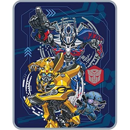 Super Soft, Warm and Cozy Transformers 5 The Last Knight 'Lead The Way' Silky Soft Throw, 40 x 50, Blue/Multicolor 40 x 50 Hasbro-Transformers