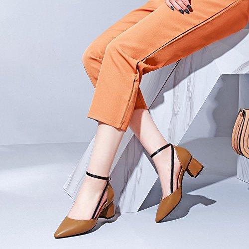 buy popular dcf82 288fa Hueco Zapatos La Mujeres Mujer Color Ronda Superficial Boca Zapato Caramel  Ocupación El Por De En ...