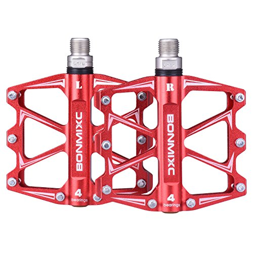 BONMIXC Bike Pedals 9/16 4 Bearings Strong Structure MTB Pedals