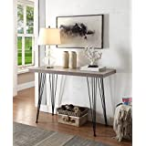 Weathered Grey Oak Black Metal Frame Entryway Console Sofa Table 45 Wide